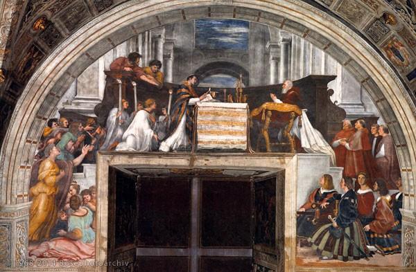 Corpus Christi - Raffaello Sanzio, Miracolo di Bolsena, affresco, 1512, Stanza di Eliodoro, Palazzi Pontifici, Vaticano