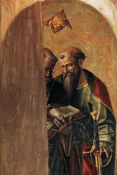 Dentro la bellezza - Carlo Crivelli (1435 – 1495) - Polittico del Duomo di Camerino. Santi Pietro e Paolo (part) post 1490, tempera e oro su tavola, 217 cm × 47 cm. Gallerie dell'Accademia, Venezia