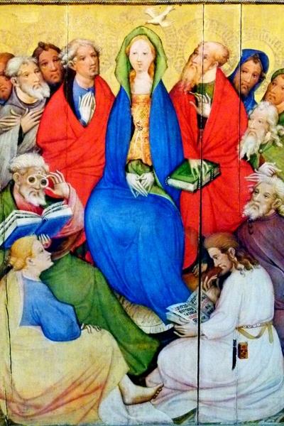 Dentro la bellezza - Conrad von Soest,  Altare Passion (Altare Wildungen) particolare della Pentecoste 1403 - Tecnica mista su legno, 73 x 56 cm, Chiesa parrocchiale, Bad Wildungen