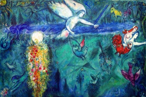 Dentro la bellezza - L'ostia e il gallo Immagini - Marc Chagall Adamo ed Eva scacciati dal Paradiso - Museo del Messaggio Biblico Nizza.