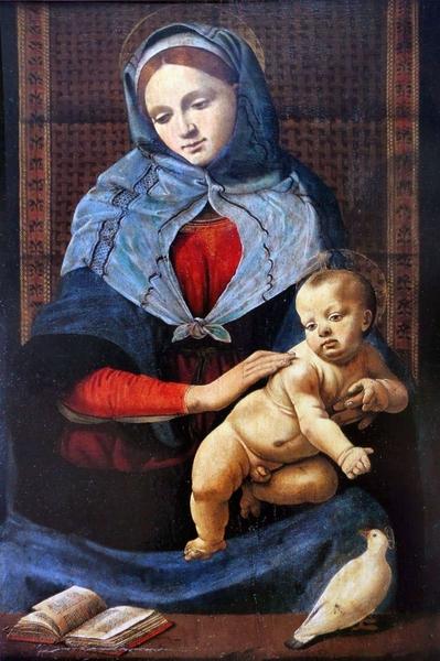 Madonna della colomba, circa 1490, olio su tavola, 87 cm x 58 cm. Museo del Louvre